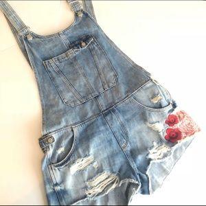 Zara Denim Distressed Embroidered Shortalls Shorts